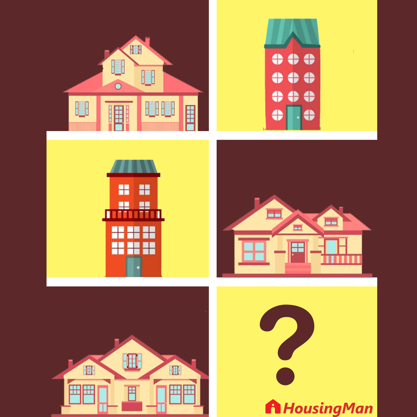 Understanding a villa, bungalow, duplex, flat and an apartment.